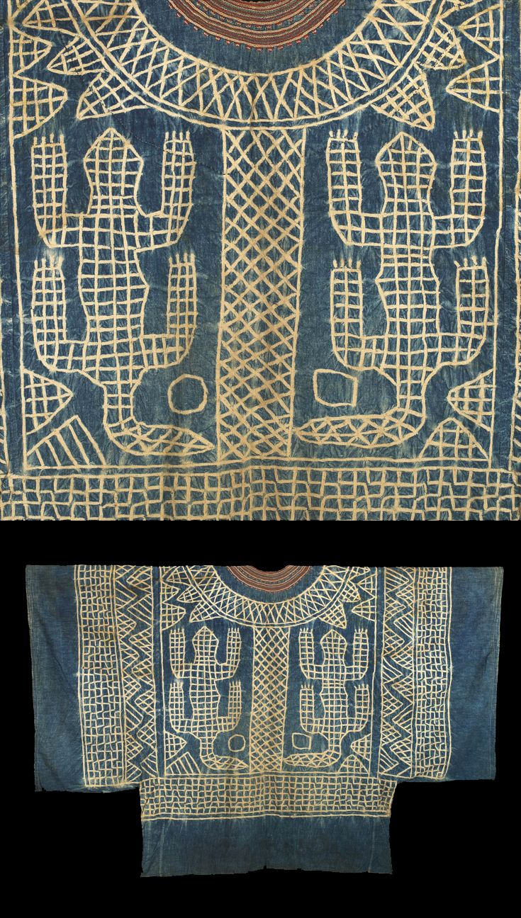 Africa | Masquerade Tunic Nzondoup from the Bamun or Bamileke people of Cameroon | Mid 20th century | Resist dyed commercial cotton, Indigo dyed, embroidered neck decoration  || Collected at Laikom, Foundong village during the annual dance festival.