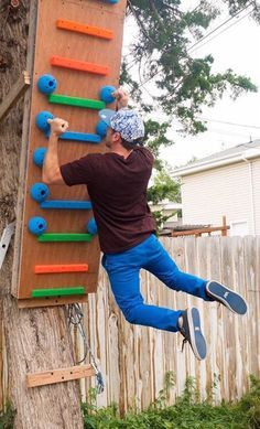 Ninja Course, Outdoor Gym Ideas, Ninja Warrior Obstacles, American Ninja Warrior Course, Homemade, Diy Climbing Wall, Backyard Exercise Equipment, Climbing ...