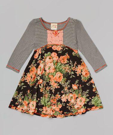 Orange & Black Floral Babydoll Dress