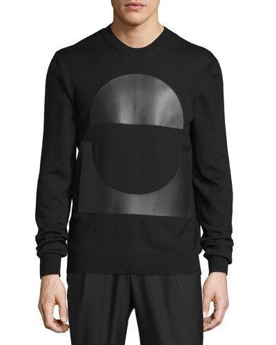 Crewneck Sweatshirt w/Faux-Leather Patches, Darkest Black