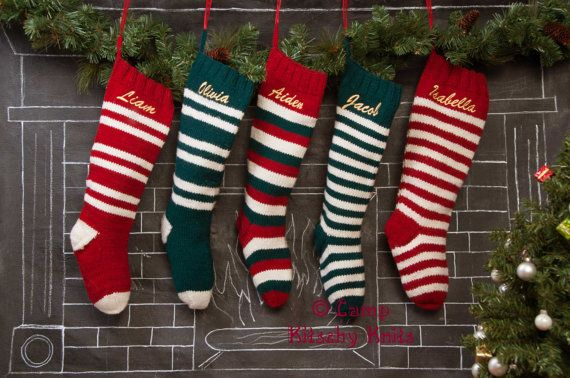 Set of 5 Knitted Christmas Stockings / Personalized / Striped Wool Stockings / Hand Knitted / Red Green White on Etsy, $225.00