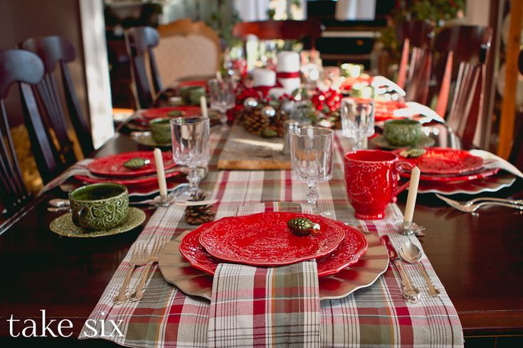 love the plaid and the old board in the centerpiece....from take six