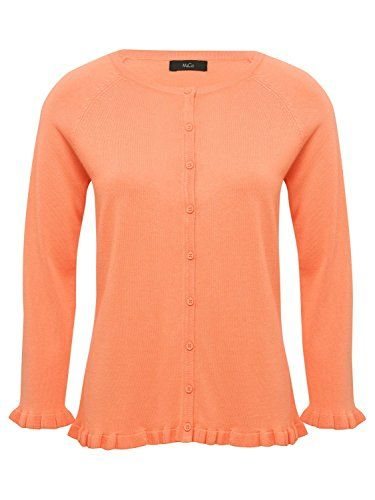 d8353a51be1afb M Co Ladies Plain Three Quarter Length Frill Sleeve Slim Fit Crew Neck  Button Up Ruffle Hem Cardigan Apricot 16