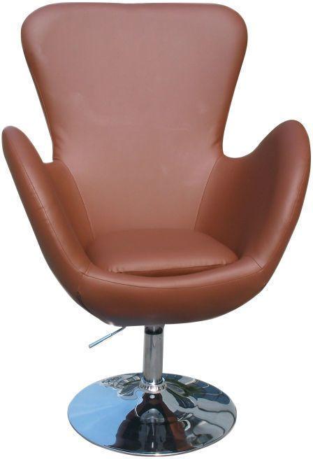 Relaxačné kreslo, hnedá textilná koža/chróm, OLLI