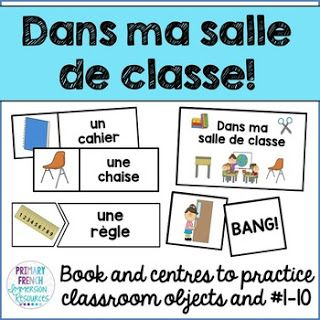 Games, centres, and flashcards for teaching classroom objects in French! Primary French Immersion Resources