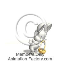 White Bunny With Basket Animated Clipart