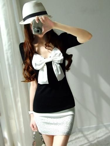 White Skirt Combined with Black Korean Stylish Top with Decorative Bow Dress  1