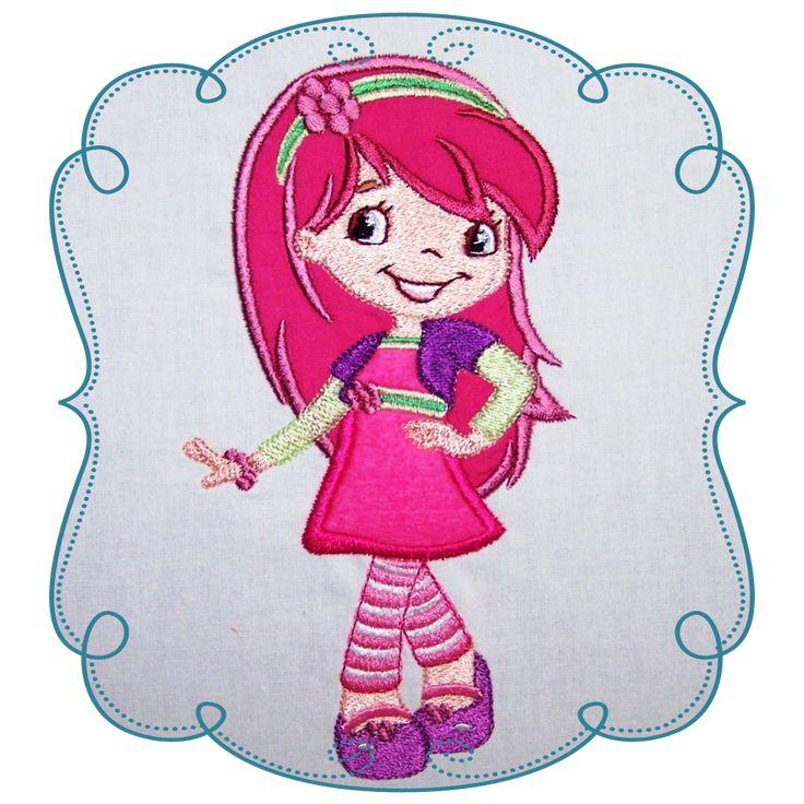 Strawberry Shortcake Applique Machine Embroidery Design Pattern-INSTANT DOWNLOAD