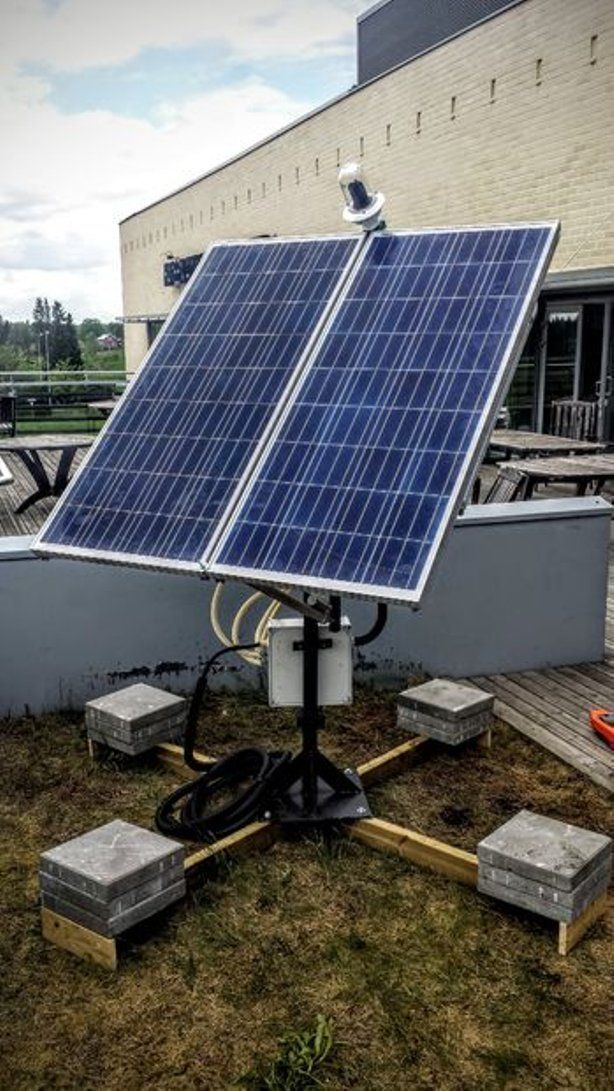 Dual Axis Solar Tracker With Online Energy Monitor Greenenergy Solar Tracker Solar Panels Solar Roof