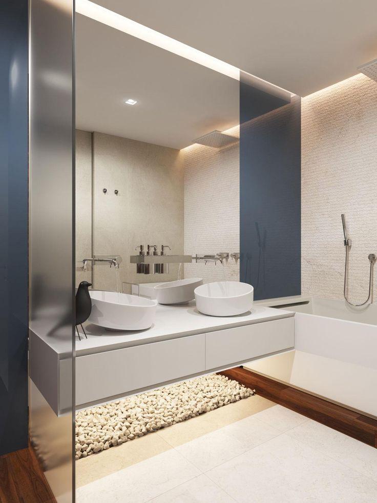 Kavicsburkolat és fa a fürdőben - fürdő