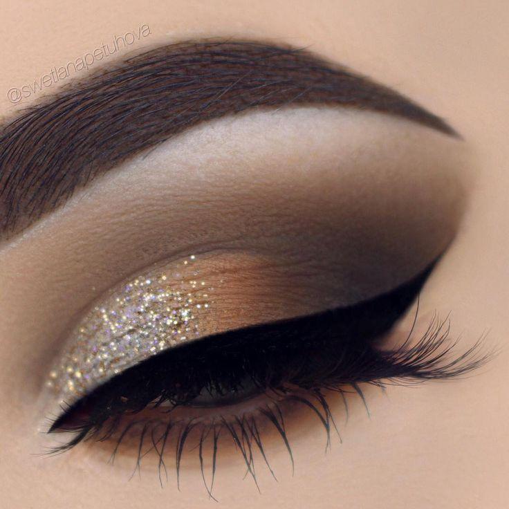 Glittery bronze.. Cut crease eye makeup