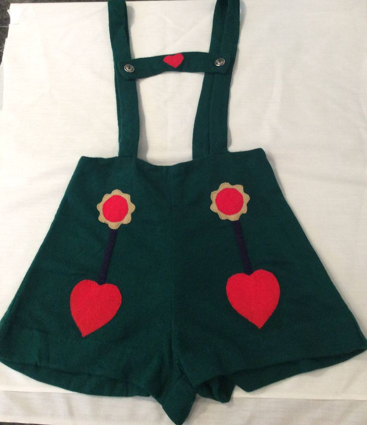 Ruth of Carolina by Ruth Originals overall shorts Lederhosen style green with hearts and flower appliqués silver buttons vintage 1950's by Vintageroyaleny on Etsy https://www.etsy.com/listing/544353259/ruth-of-carolina-by-ruth-originals
