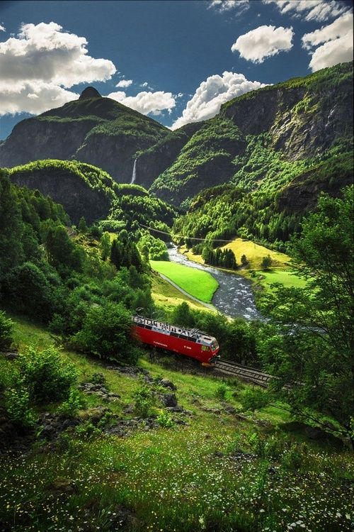 Flåm Railway, Norway: This is one of the steepest railroad lines in Europe! And it goes through some of the most scenic countryside! It is in western Norway near the Bergen area.