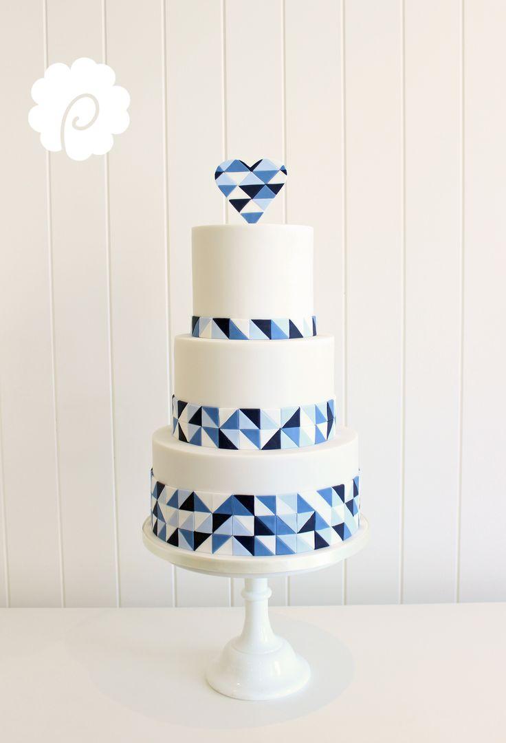 Modern clean geometric blue tonal wedding cake