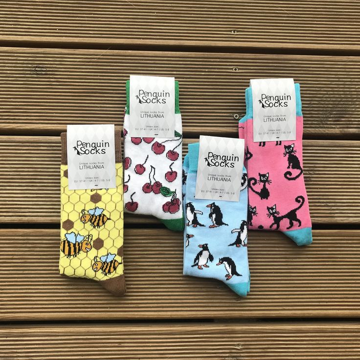 Excited to share the latest addition to my #etsy shop: Four pack - Funny Socks Box for Women: Cat socks, Penguin socks, Bee socks, Cherry socks | Novelty Socks Women, Crazy sock, Funky socks gift http://etsy.me/2CnngPT #clothing #socks #green #birthday #valentinesday #