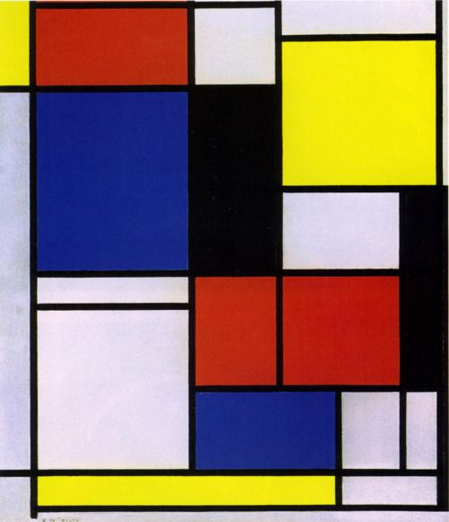 And then there was Mondrian (March 7, 1872 - 1944) - who went from being a quasi-Victorian figure to being a complete De Stijl Modernist when he utterly gave up on representation as a principle in art. Instead he evolved a non-representational form which he termed Neo-Plasticism, consisting of a grid of vertical and horizontal black lines and the use of the three primary colours…  Above: Tableau, 1921