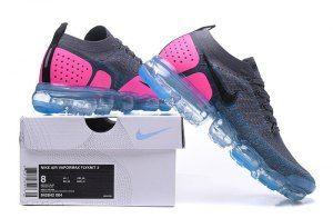 e41131d45ac Nike Air VaporMax Flyknit 2. 0 W Gunsmoke Blue Orbit Pink Blast Black  Women s Running Shoes