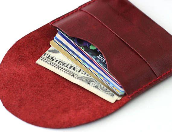 Red leather wallet Minimal leather travel cardholder #leatherwallet #womenwallets #redwallet