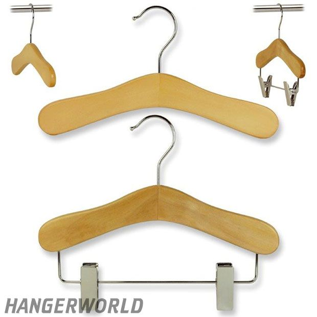 Wardrobe Set Of Children's Natural  Wooden Hangers - 25cm