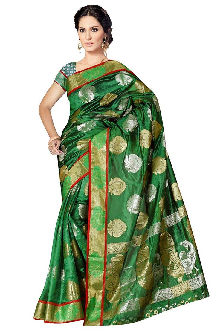 Indian Fashionista Women's Pure Banarasi Kora Silk Rich Pallu Party wear Saree with Blouse Piece (KANAPPLEZARI012_Green)
