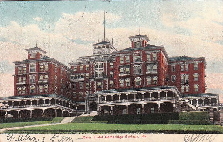 Postcard Rider Hotel Cambridge Springs PA 1908 | eBay