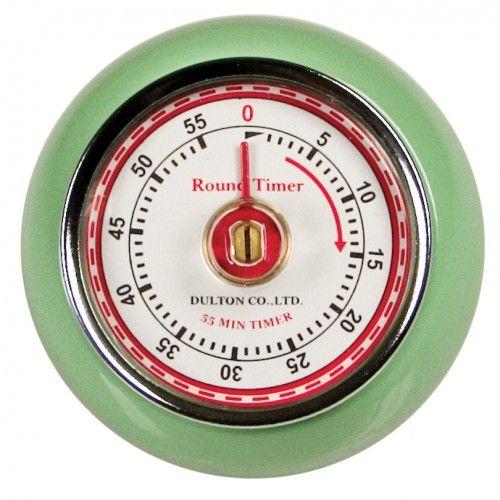 Superbe minuterie magnétique de style rétro.  Disponible en 2 couleurs:  vert menthe ou ivoire.