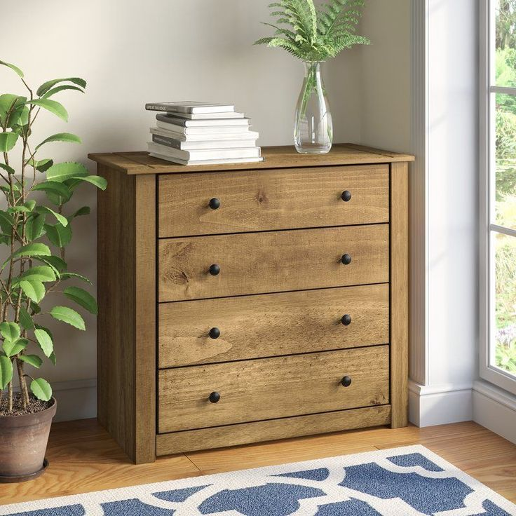 4 Drawer Chest of Drawers Natural Solid Pine Wood Traditional Bedroom Furniture