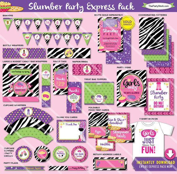 Slumber Party Birthday Party Decorations  by thepartystork on Etsy