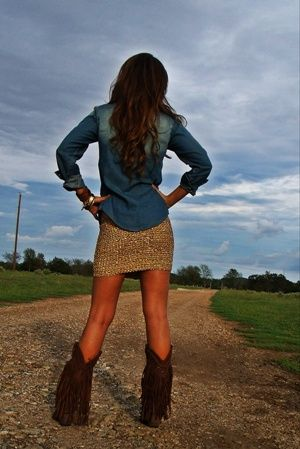 Denim Shirt Sparkly Mini Skirt And Fringe Cowboy Boots