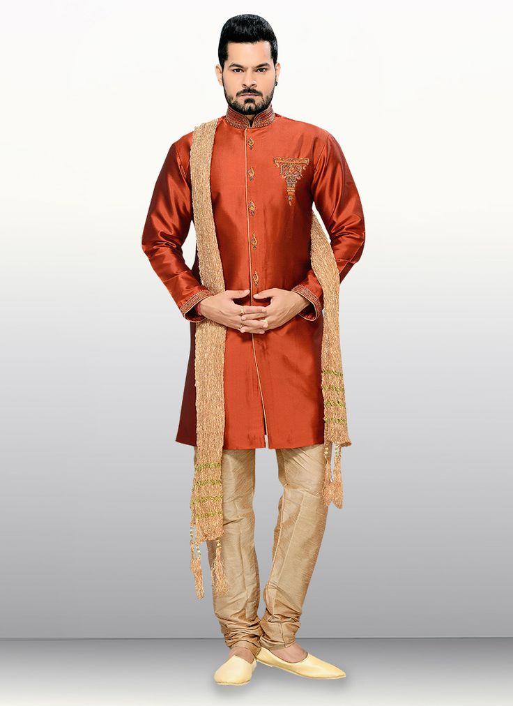 Rust Embellished Indowestern Sherwani