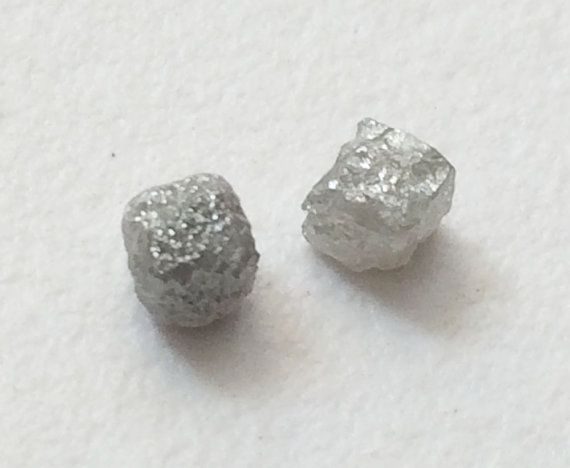 White Grey Rough Diamond Cubes 2 Pcs Natural by gemsforjewels