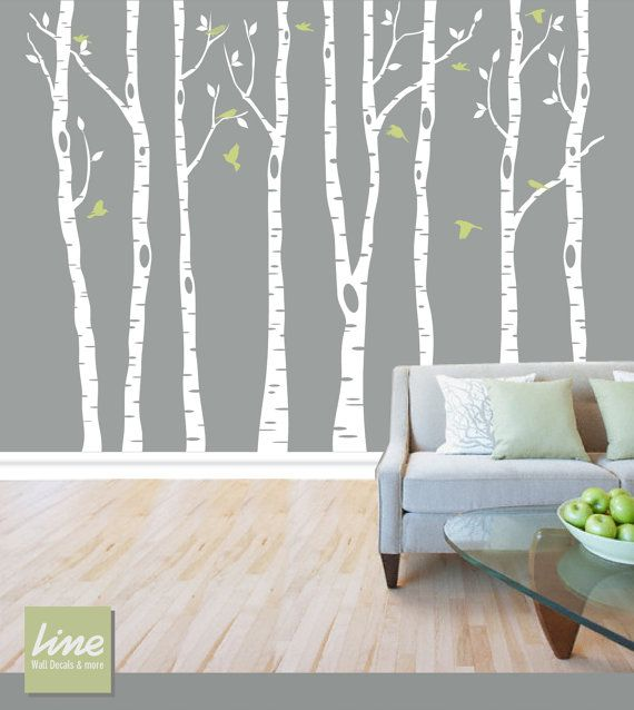 "Wall Birch Tree Decal Forest, Birch Trees, Birch Trees Vinyl, Birch Tree Wall Decal, Kids Vinyl Sticker Removable - 84"" tall (7 feet) on Etsy, $89.00"