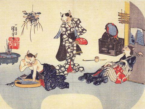 <くつろぐ夏の猫美人たち : KUTSUROGU NATSU NO NEKO BIJIN TACHI> CAT BEAUTIES RELAXING IN SUMMER KUNIYOSHI UTAGAWA 1798-1861 Last of Edo Period