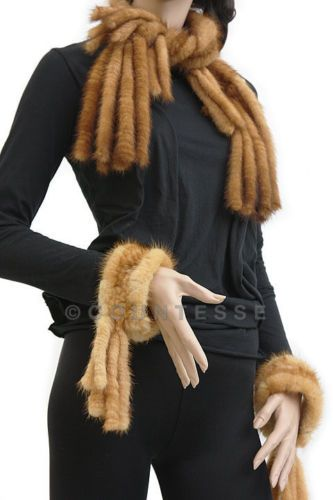 NEW-KNITTED-MINK-FUR-SABLE-COLOR-SCARF-SHAWL-KU851