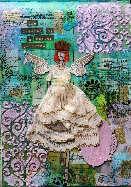 ~ Girls Series by Renata Pacheco ~  molding paste background and cloth skirt