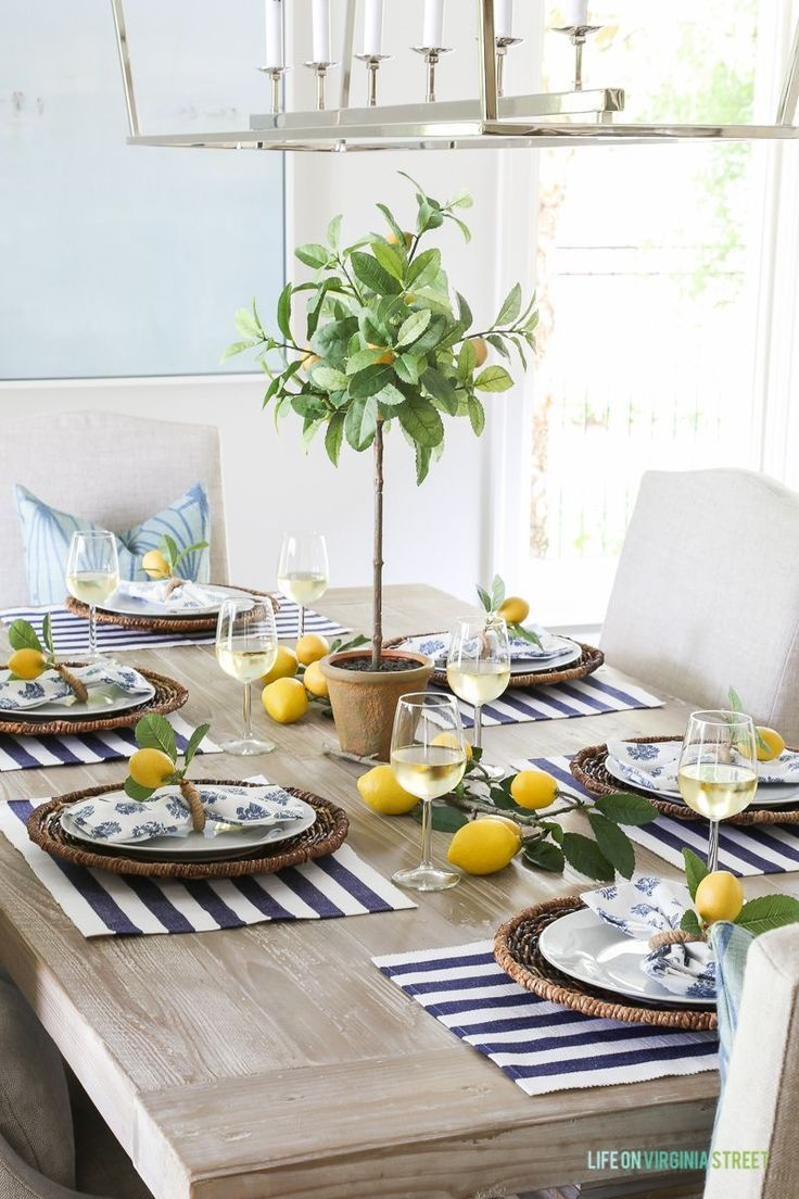 Love Placemats And Lemons Yellow Green White And Black Accents Lemon Tablescape French Country Dining Room Furniture Table Decorations