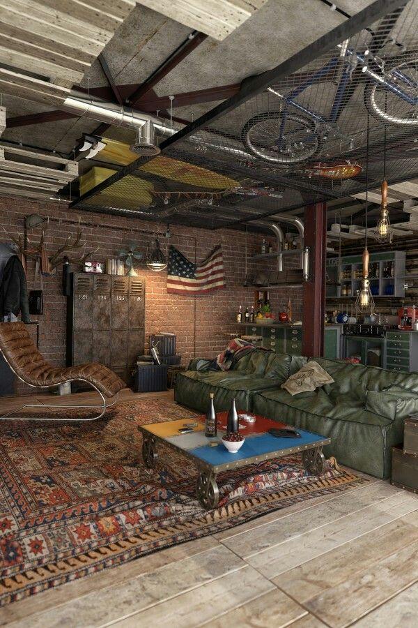 Vintage acid wash rugs and unusual coffee table- vibe.