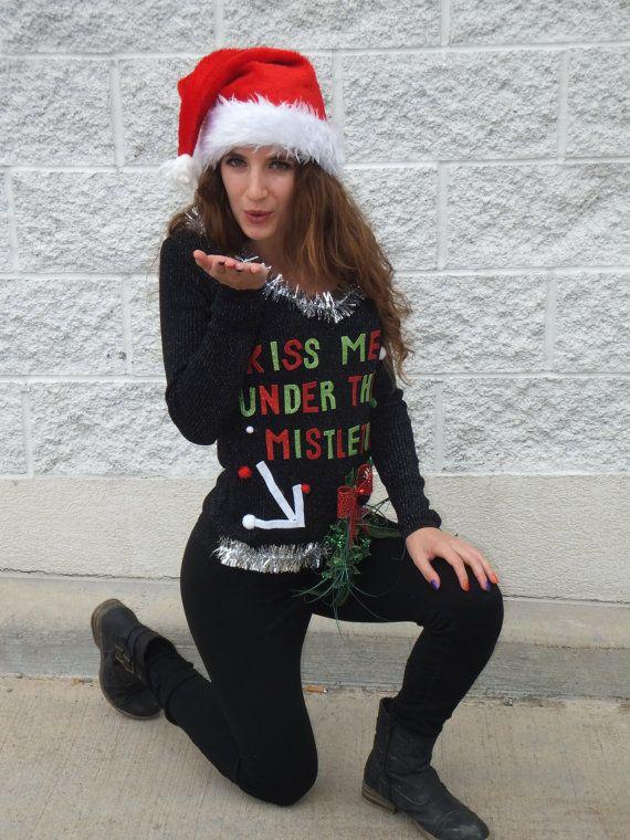 ugly christmas sweater women custom 3d christmas sweater ugly christmas sweater party kiss me under the mistletoe sweater ship asap christmas