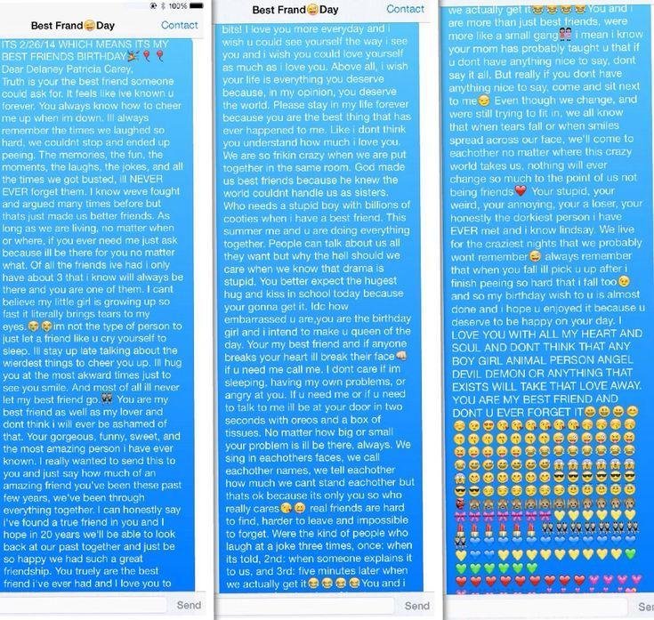 Meine SMS an meine beste Freundin an ihrem Geburtstag #
