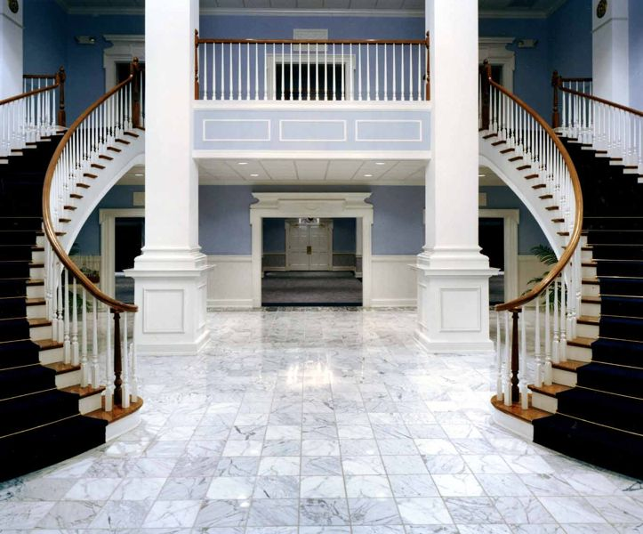 Gorgeous double curved staircase contact southern for Double curved staircase