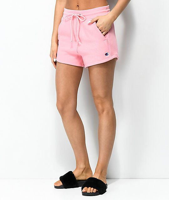 379a39b80d157 Champion Reverse Weave Embroidered Pink Shorts in 2019