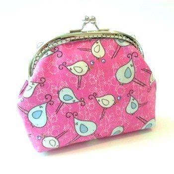 Knip portemonnee roze stof met leuke vogel motief - foto 1