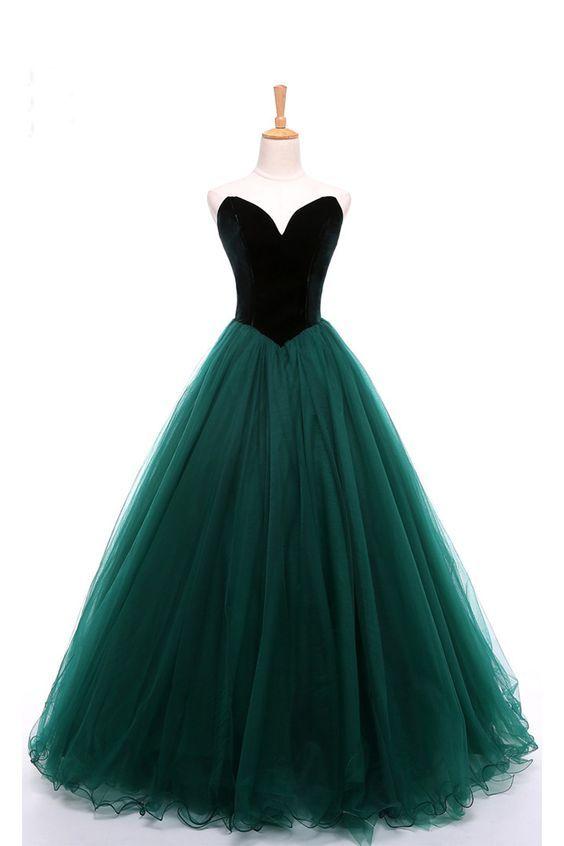 Sweetheart deep green velvet long tulle A-line formal prom dress ... f68310deb05c