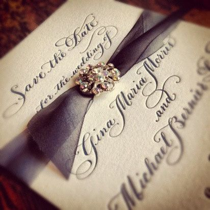 Wedding Invitation or Save the Date with Letterpressed Calligraphy and Vintage style brooch by DesignsByRobynLove, $8.00