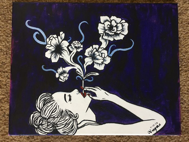 Girl Smoking Cigarette with Flowers Acrylic Painting