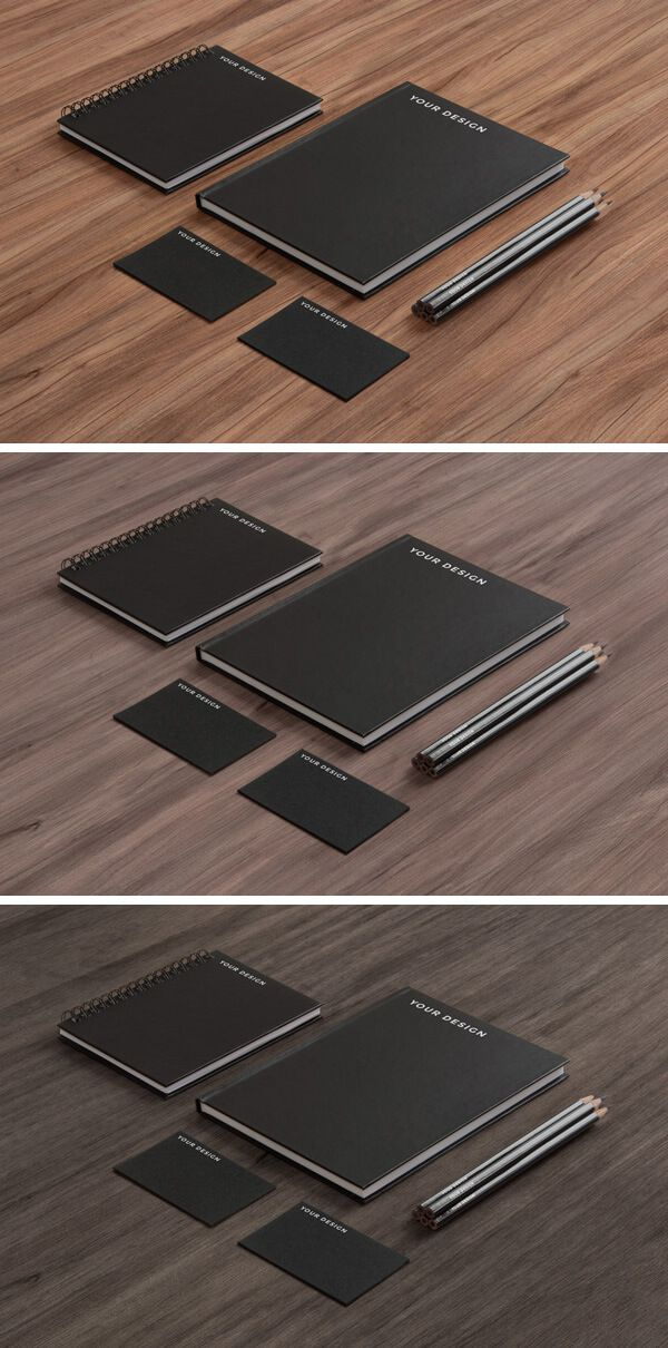 Stationery MockUp – Black Paper on Wood