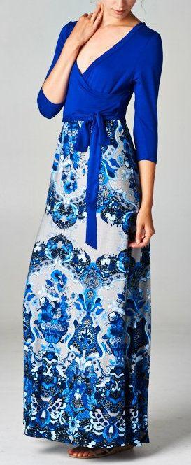 Blue Mist Surplice Dress