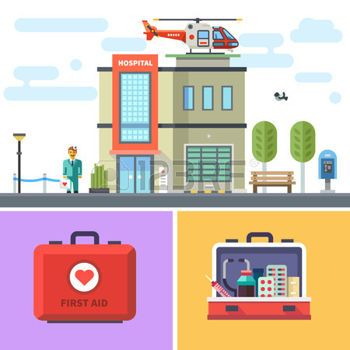 Hospital building with a helicopter on roof. Cityscape. Symbols of medicine: first aid kit with medicines. Vector flat illustration photo