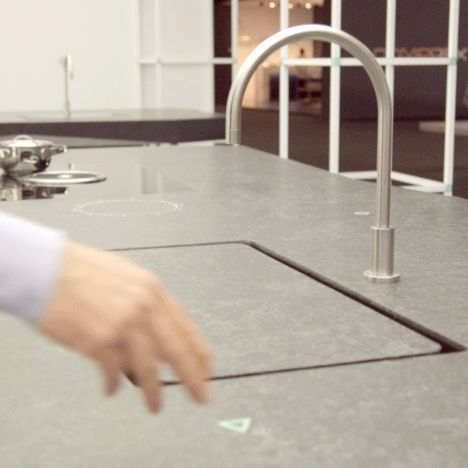 Tipic's smart Tulèr kitchen features a sink that appears with the wave of a hand