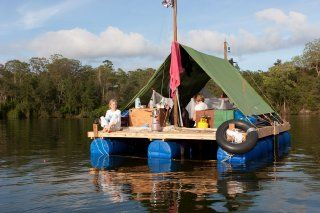 In the Summer of 2009 the Knoxes set sail on a home built raft on a journey of 150km down the Hawkesbury River. They lived, cooked and slept on the raft. It took them 2 week.